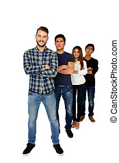 Full length portrait of a students standing in a row over white background