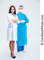 Full length portrait of a two medical workers