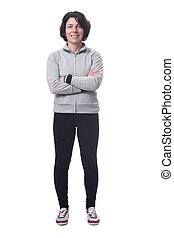 full length portrait of a woman arms crossed on white background