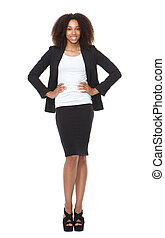 Full length portrait of a young business woman smiling