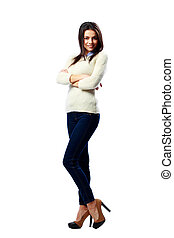 Full-length portrait of a young cheerful businesswoman standing with arms crossed isolated on a white background