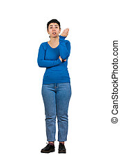 Full length portrait of angry woman arguing and gesturing looking furious to camera isolated over white background. Young annoyed girl scolding someone.
