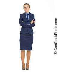 Full length portrait of annoyed business woman