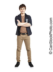 Full length portrait of Asian young man and isolated on white