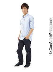 Full length portrait of Asian young man