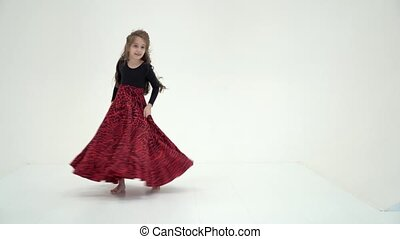 Beautiful Long Haired Girl Wearing Black and Red Long Dress...