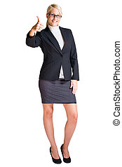 Full length portrait of blond business woman.