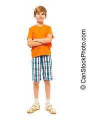 Full length portrait of boy on white