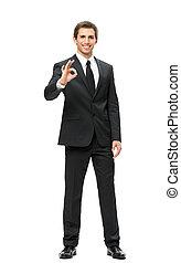 Full-length portrait of business man ok gesturing