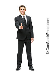 Full-length portrait of business man thumbing up