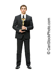 Full-length portrait of business man with cup