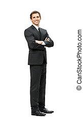 Full-length portrait of business man with hands crossed