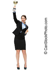 Full length portrait of business woman with cup