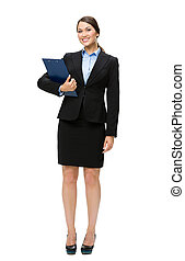 Full-length portrait of business woman with documents