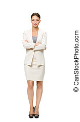 Full length portrait of business woman with hands crossed
