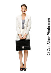 Full-length portrait of business woman with suitcase