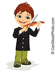 cute boy playing violin