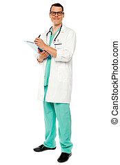 Full length portrait of doctor writing prescription