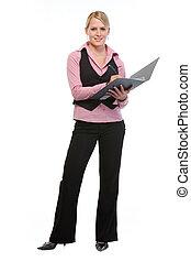 Full length portrait of employee woman writing in folder