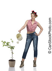 full-length portrait of female gardener - full-length...
