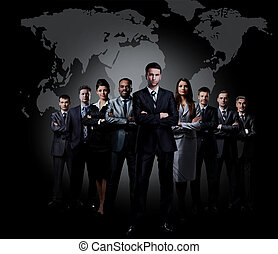 Full-length portrait of group of business people.