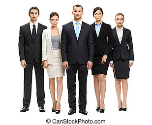 Full-length portrait of group of business people