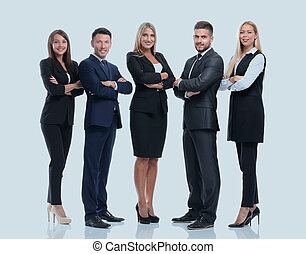 Full-length portrait of group of business people, isolated on white.