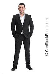 full length portrait of handsome businessman
