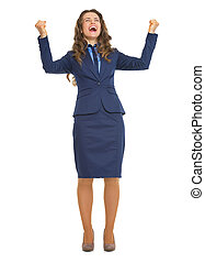 Full length portrait of happy business woman rejoicing success