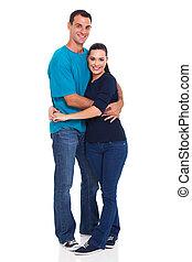 happy couple isolated on white background