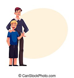Full length portrait of happy father and son standing together