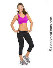 Full length portrait of happy fitness young woman