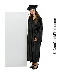 Full length portrait of happy graduation student holding...