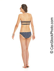 Full length portrait of happy young woman in swimsuit. rear view