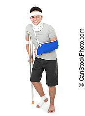 injured young man wear arm sling and crutch - full length...