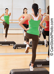 Full length portrait of instructor with fitness class. young girls performing step aerobics exercise in gym