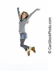 Full Length Portrait Of Jumping Teenage Girl