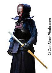 Full length portrait of kendo fighter