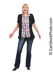 Full length portrait of laughing senior woman