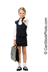 Full-length portrait of little businesswoman with case in glasses