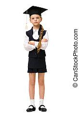 Full length portrait of little student in academic cap