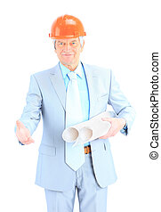 Full length portrait of mature male construction worker with helmet and blueprints on white