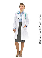 Full length portrait of medical doctor woman