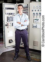 modern factory technical worker - full length portrait of ...