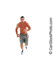 Full length portrait of muscular man running isolated on a white background
