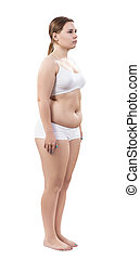 Full length portrait of overweight young woman isolated on...