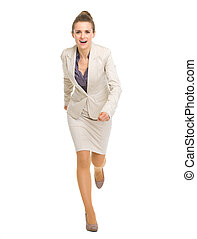 Full length portrait of running business woman