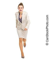 Full length portrait of running business woman