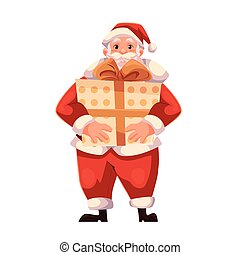 Full length portrait of Santa holding a big gift box
