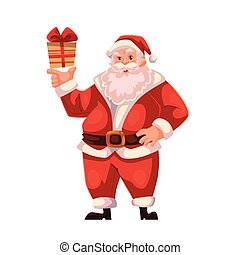 Full length portrait of Santa holding a small gift box